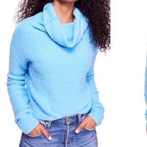 Bright Blue Plush Cowlneck Sweater